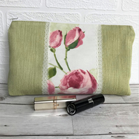 Large cosmetic bag, make up bag in green with pink Roses and lace