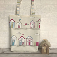 Beach huts tote bag, handbag in cream with pastel beach huts print pattern