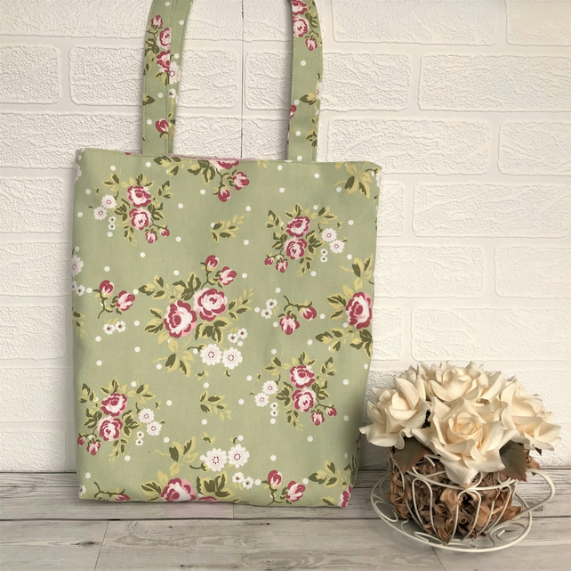 Shabby chic floral tote bag in pale green with pink and white flowers