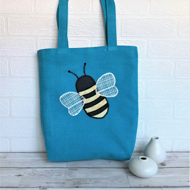 Bumble Bee tote bag in turquoise with applique Bumble bee