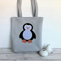 Penguin tote bag in pale grey with black and white polka dot penguin
