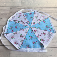 Shabby chic floral bunting in blue, white and pink