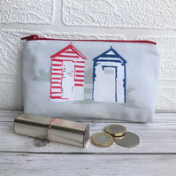 Large purse, coin purse in grey with blue and red beach huts