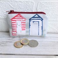 Small purse, coin purse in grey with blue and red beach huts