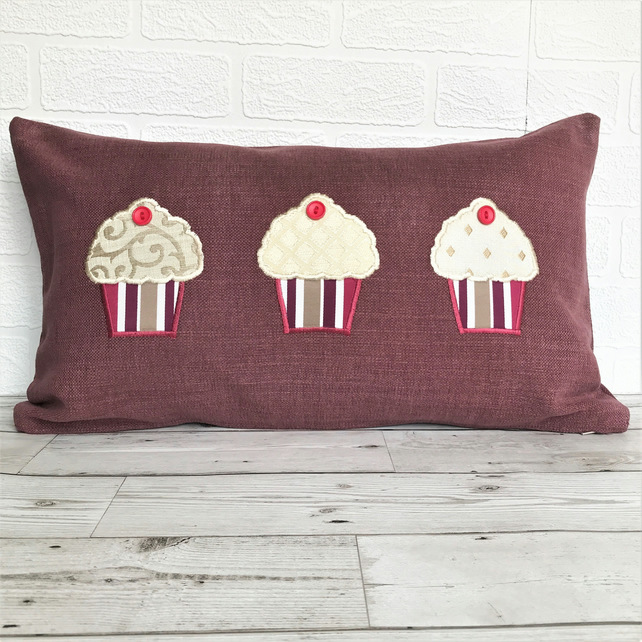 SALE, Cupcakes cushion in plum rectangular cushion with applique cupcakes
