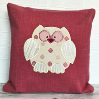 SALE, Owl cushion in coral pink with gold applique owl