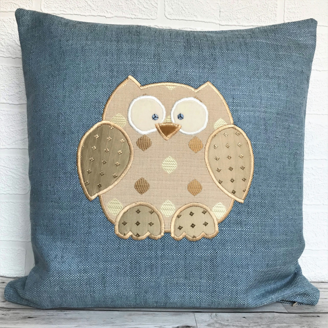 Owl cushion in blue with gold applique owl