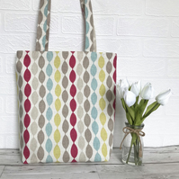 Abstract stripe pattern tote bag in bright colours