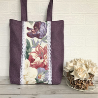 Purple tote bag with floral panel featuring Summer flowers