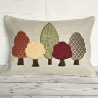 Autumn trees cushion, rectangular cushion