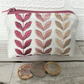 Small purse, coin purse in ivory with pink leaf pattern