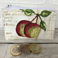 Small purse, coin purse in pale cream with two red and green apples