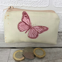 Small purse, coin purse in pale yellow with red and pink butterfly