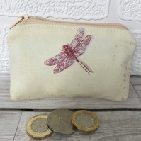 Small purse, coin purse in pale yellow with red dragonfly