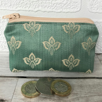 Small purse in duck egg blue with cream woven pattern