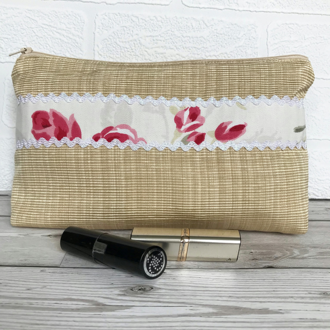 Large cosmetic bag, make up bag with pink Roses trim