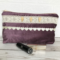 Large purple cosmetic bag, make up bag with buttons and lace and hearts trim