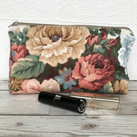 Cosmetic bag, make up bag with flowers in peachy shades