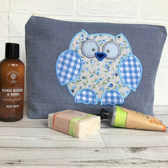 Owl toiletry bag - Blue with cream and blue floral and gingham owl