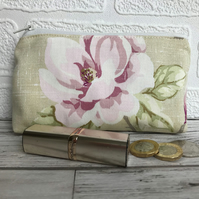 Large purse, coin purse in pale green with pink Magnolia floral print