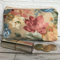 Large purse, coin purse in beige with floral print