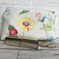 Large purse, coin purse in cream with pink and yellow floral print