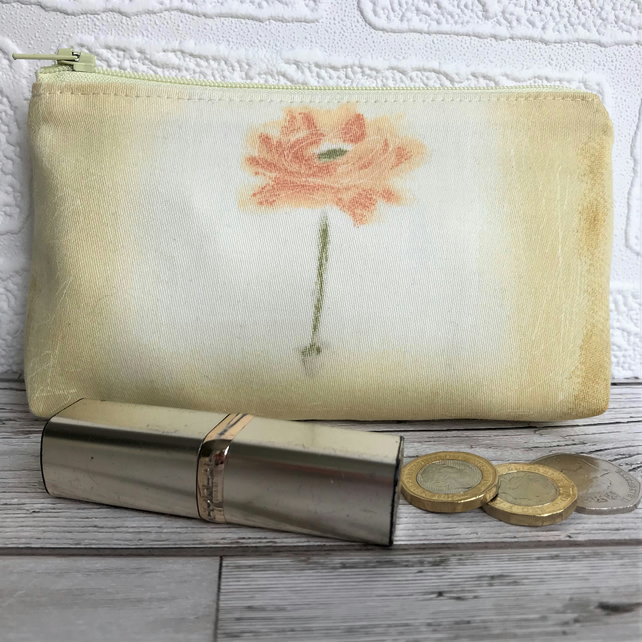 Large purse, coin purse in pale yellow with orange flower