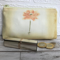 SALE, Large purse, coin purse in pale yellow with orange flower