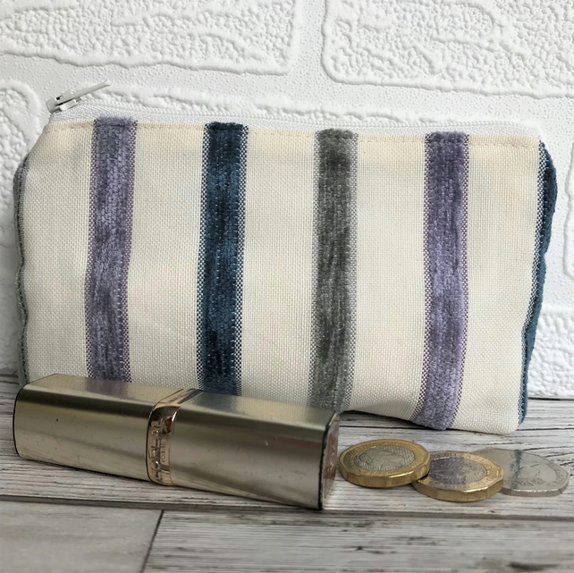 Large purse, coin purse in pale cream with textured stripes in lilac and blue