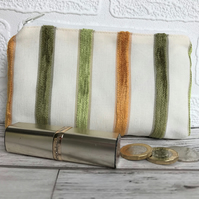 Large purse, coin purse in pale cream with green and yellow textured stripes