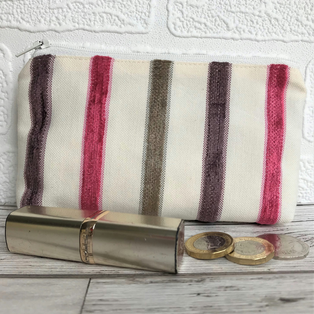 Large purse, coin purse in pale cream with plum and magenta textured stripes