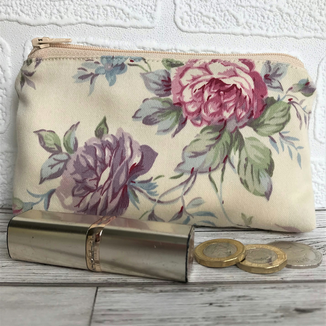 Large purse, coin purse in cream with pink and purple Roses