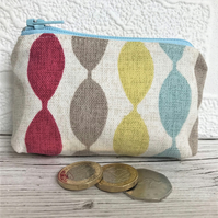 Small purse, coin purse with abstract stripes in bright colours