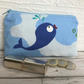 Large purse, coin purse in blue and white with little blue whale