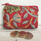 Small purse, coin purse in red Strawberry Thief fabric by William Morris