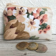 Small purse, coin purse with floral print in peaches and cream shades