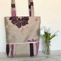 Tote bag with gold, plum and pink flowers and stripes