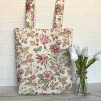 Pink patterned tote bag with flowers, wild strawberries and butterflies
