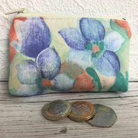 Small purse, coin purse with blue, green and peach floral print