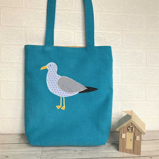 Seagull tote bag in turquoise with applique Seagull