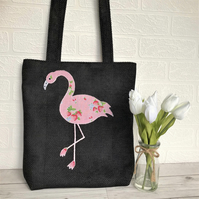 Flamingo tote bag in black with pink strawberry print flamingo