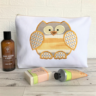 Owl toiletry bag, owl wash bag in ivory fabric with golden yellow striped owl