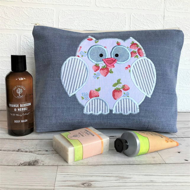 Owl toiletry bag, owl wash bag in blue fabric with strawberry print owl