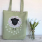 Sheep bag, Sheep tote bag in pale green with floral print applique sheep