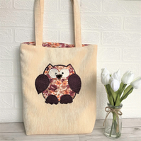 Owl tote bag in cream with peach, maroon and beige floral print owl