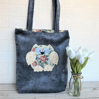 Owl tote bag in blue with floral print owl