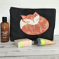 Sleepy Fox toiletry bag, wash bag in black with applique sleeping fox