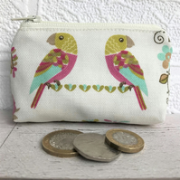 Small purse, coin purse with tropical parrots print
