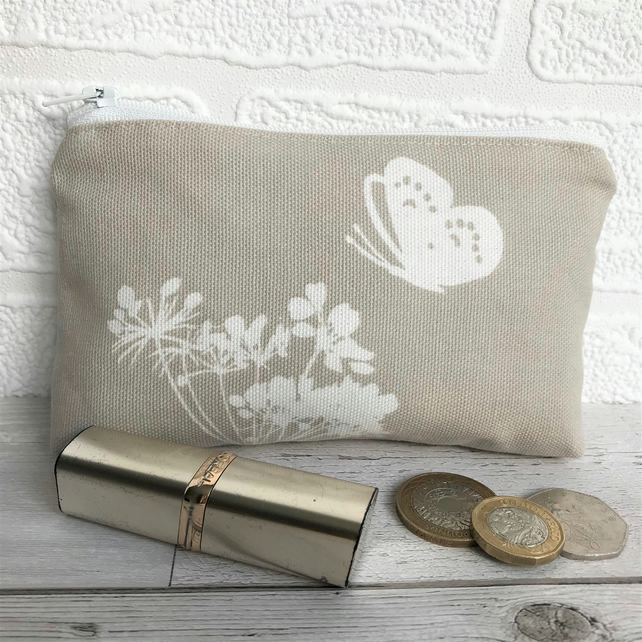 Large purse, coin purse in beige with cream butterfly and cow parsley
