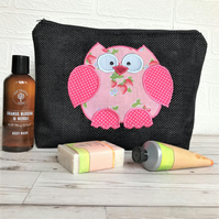 Owl toiletry bag, owl wash bag in black fabric with pink strawberry print owl